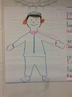 Drawing of a person in winter clothes.