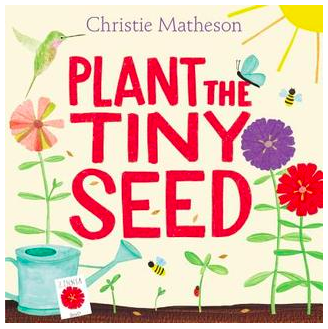 "Book Covers for: ""Plant the Tiny Seed"", ""Whose Moon is That?"", ""Imagine That!"", and ""Bee & Me"""