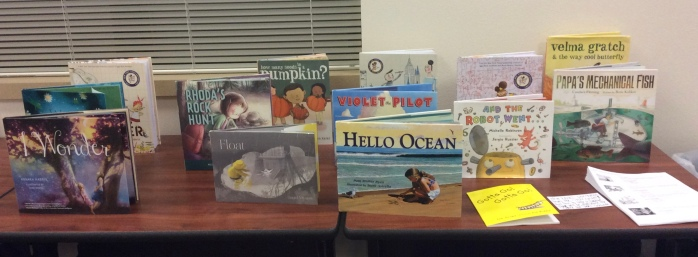 Science themed picture books on display at school