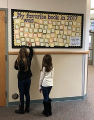 Students writing on the favorite book board