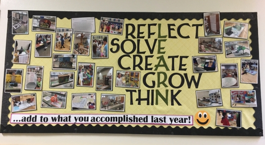 Reflect, Solve, Create, Grow, Think Bulletin Board