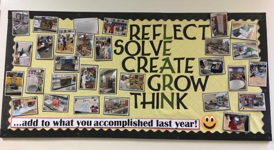 Reflect, Solve, Create, Grow, Think Bulletin Board