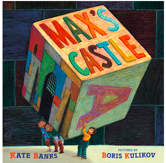 "Book Covers of ""Max's Castle"", ""A Garden for a Groundhog"", ""Sleepy River"", and ""Circle""."
