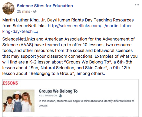 Science Sites 4 Education: Dr. Martin Luther King, Jr. Post
