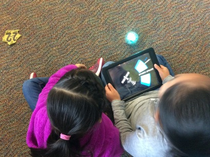2nd graders using Sphero devices