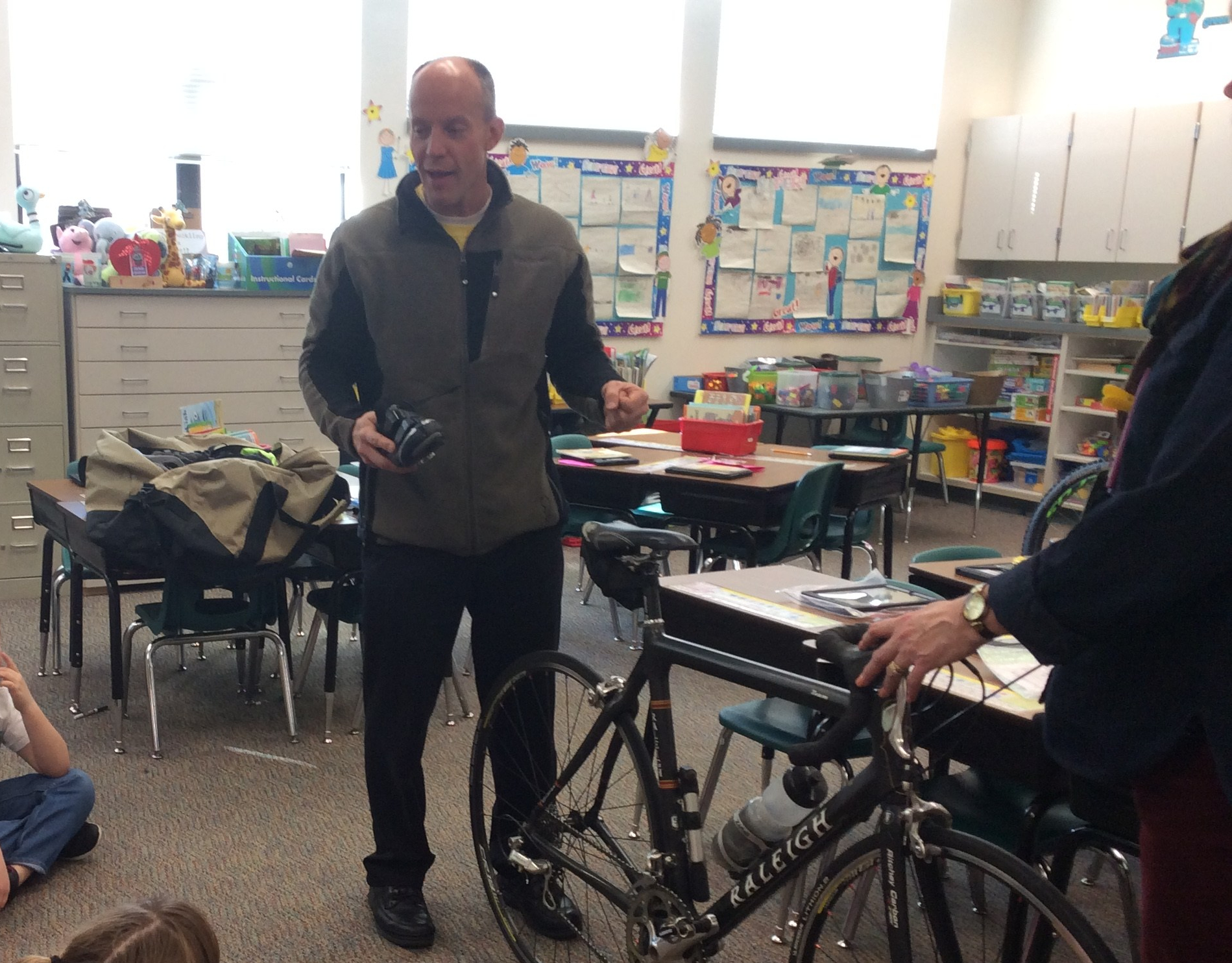 Mr. LaBau presenting about bikes