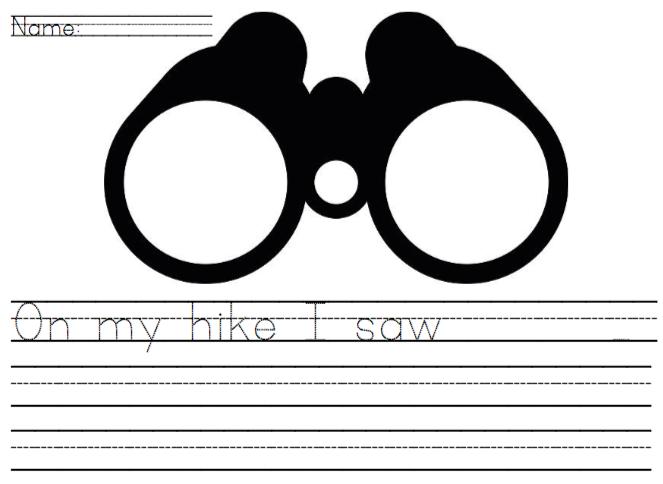 On my hike I saw...writing page