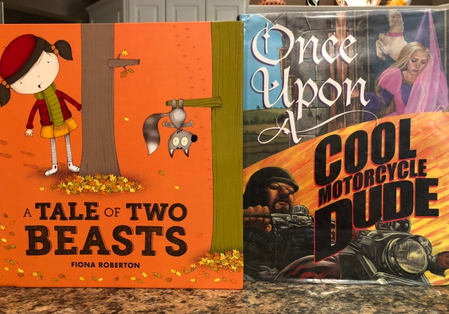 "Covers of ""A Tale of Two Beasts"" and ""Once Upon a Cool Motorcycle Dude"""
